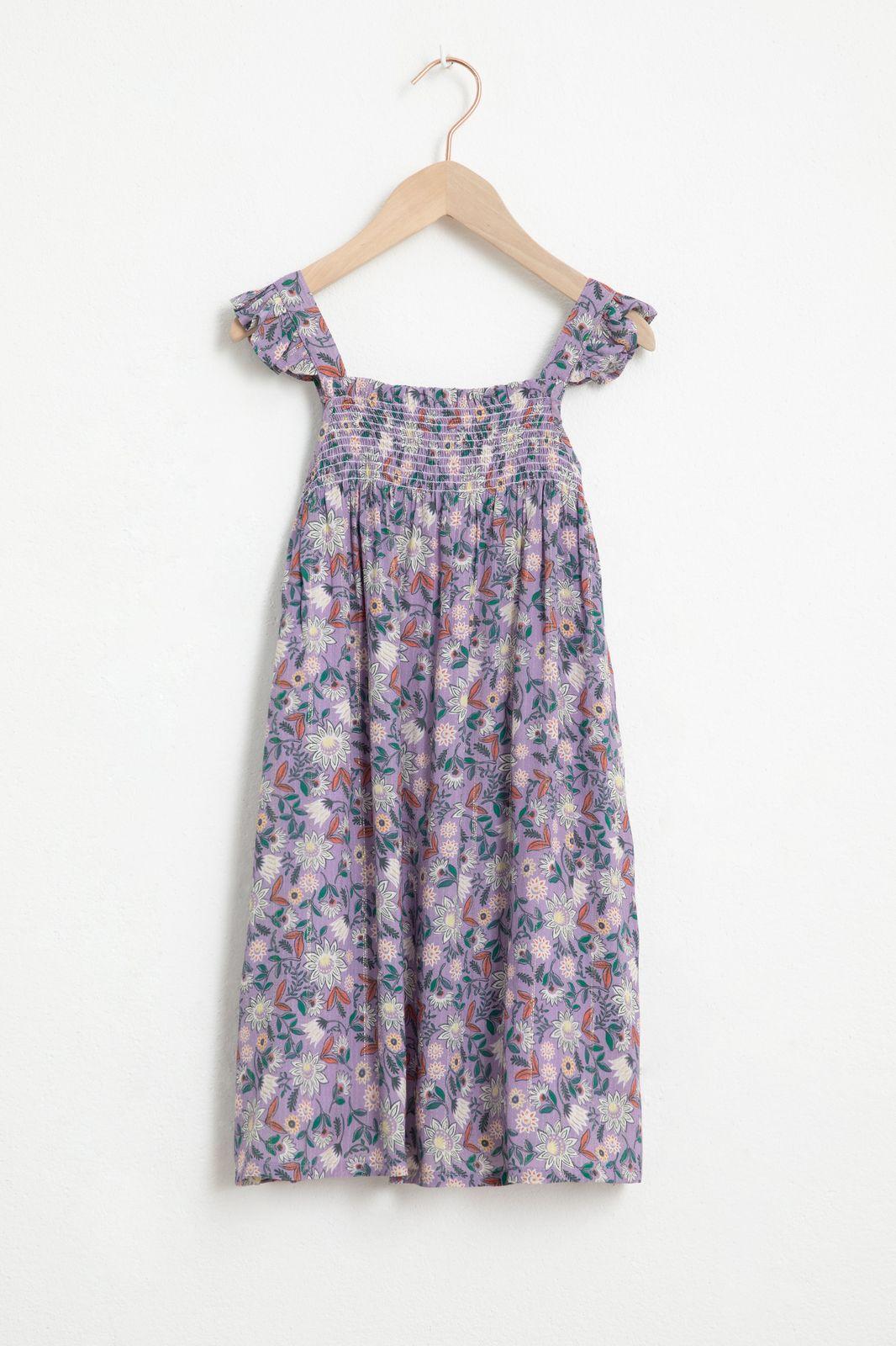 Lila jurk met all over bloemenprint en lurex - Kids   Sissy-Boy