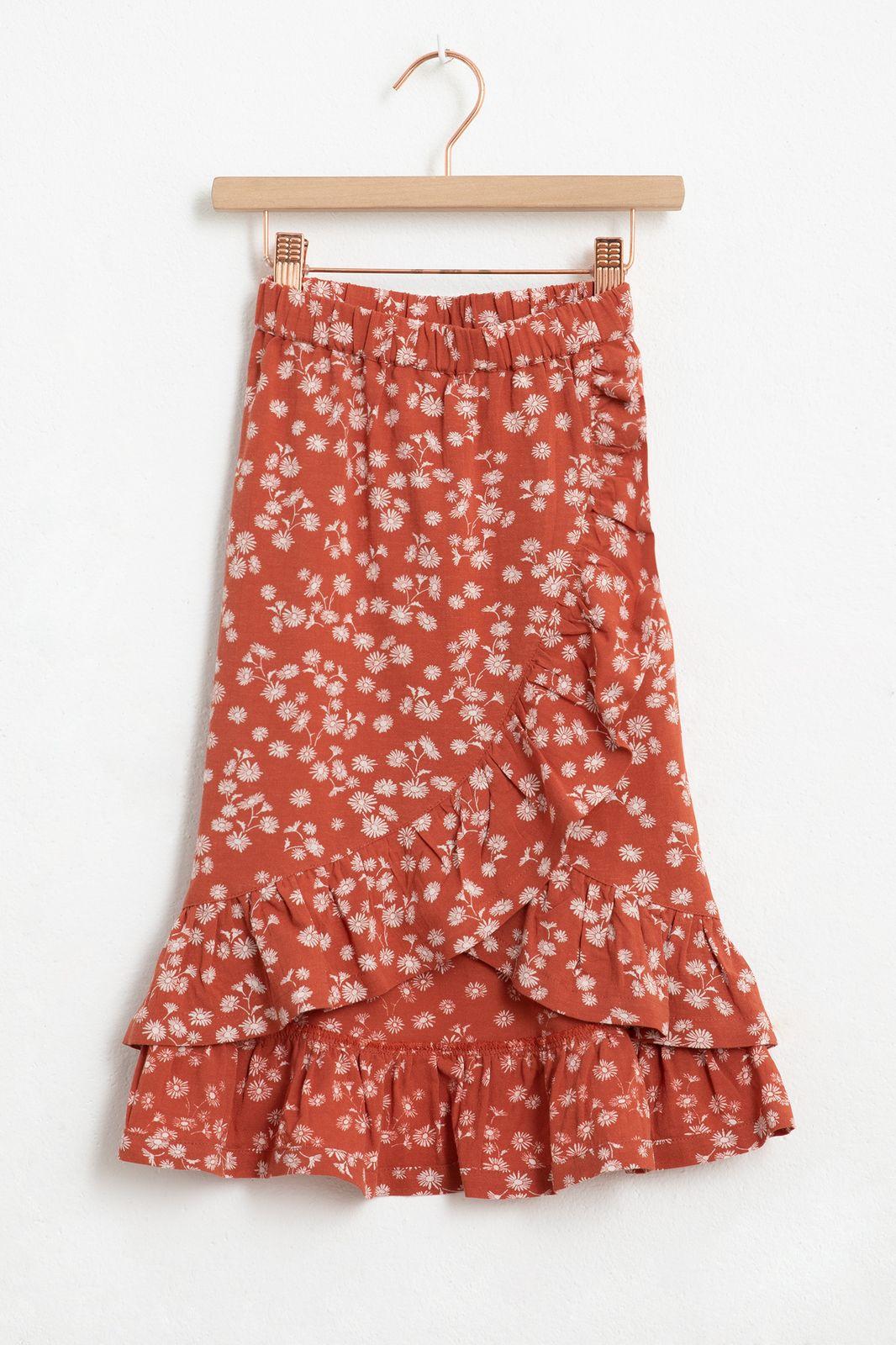 Rode rok met ruffles en all over bloemenprint - Kids | Sissy-Boy