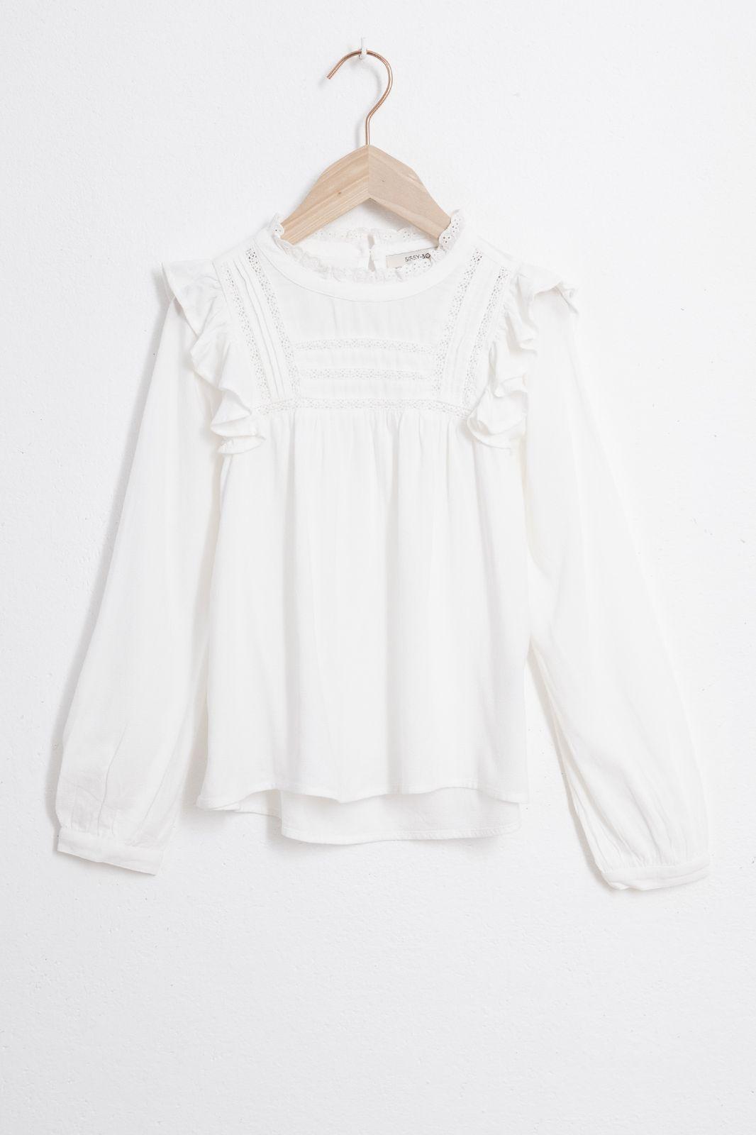 Witte blouse met ruffles - Kids | Sissy-Boy
